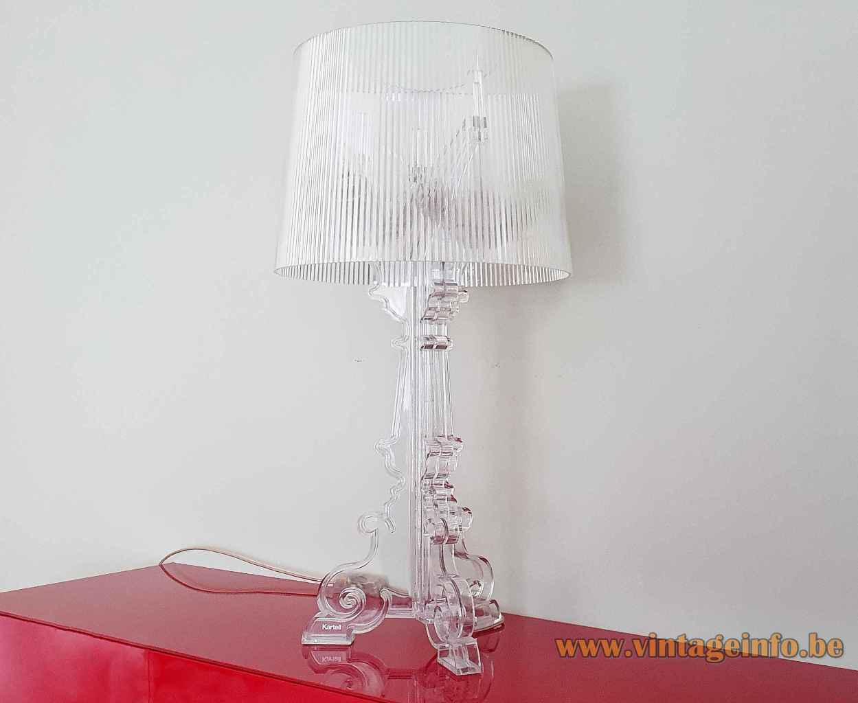 Kartell Bourgie table lamp clear plastic base ribbed conical lampshade 2004 design: Ferruccio Laviani Italy