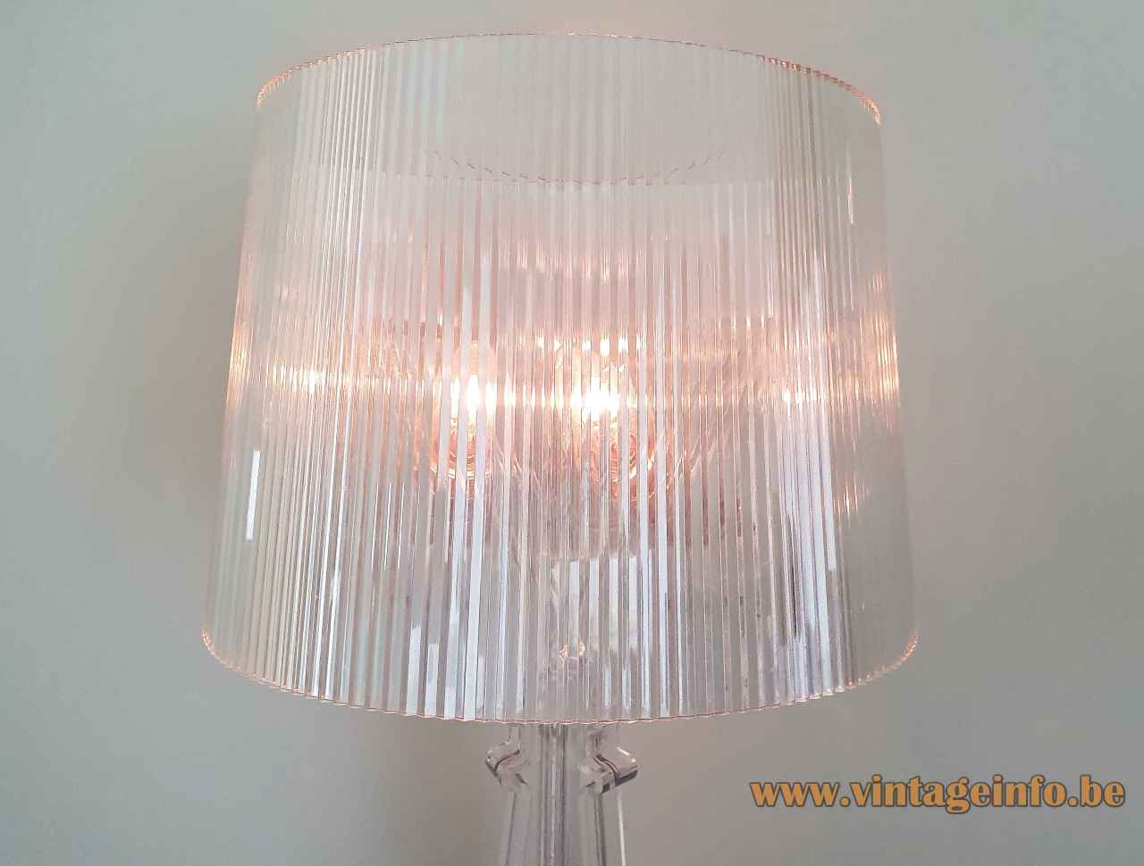 Kartell Bourgie table lamp clear plastic ribbed conical lampshade 2004 design: Ferruccio Laviani Italy E14 sockets