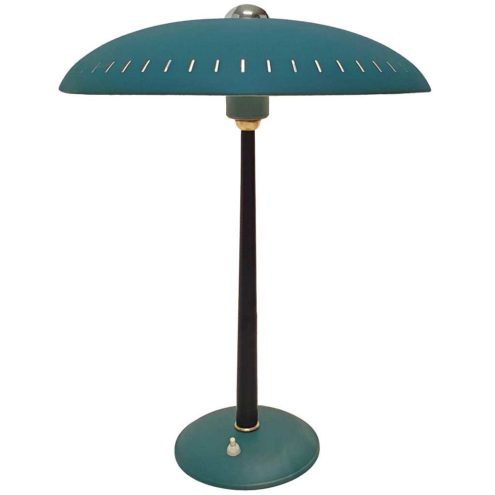 Louis Kalff Senior desk lamp round blue base conical rod UFO mushroom lampshade Philips 1950s 1960s
