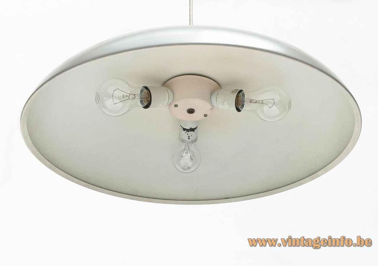 Louis Poulsen California pendant lamp disc lampshade 3 E27 sockets design: Vilhelm Wohlert & Jørgen Bo 1960s