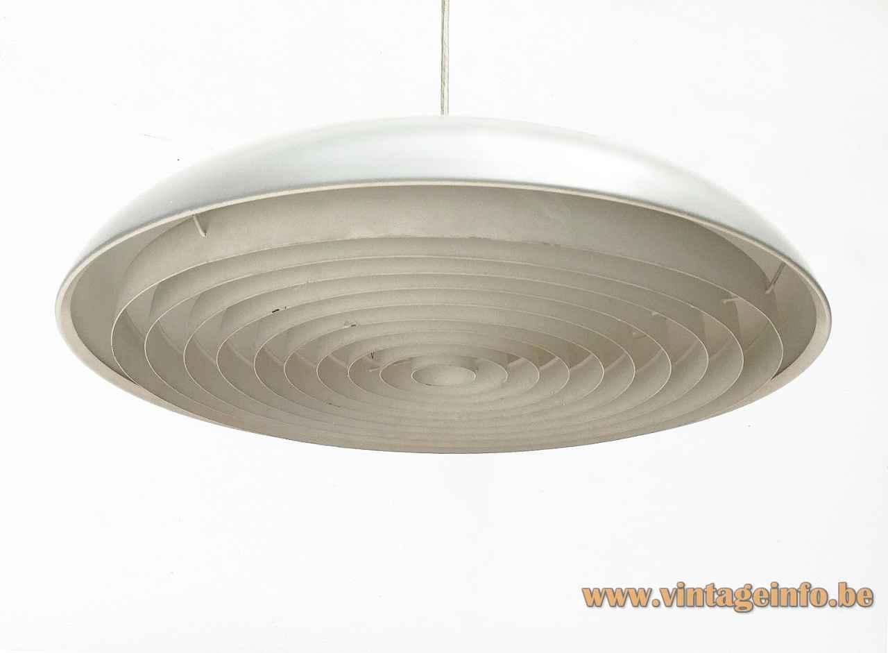 Louis Poulsen California pendant lamp disc lampshade round plastic grid design: Vilhelm Wohlert & Jørgen Bo 1960s