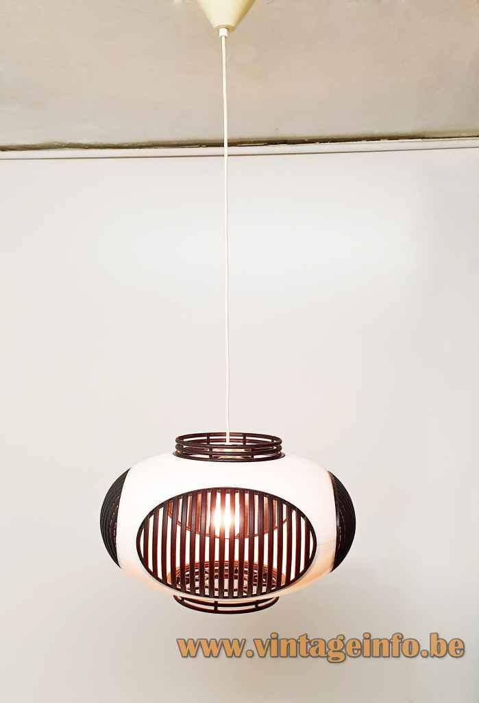 Massive bug eye pendant lamp white & black plastic round oval UFO lampshade 1970s 1980s Belgium Colani