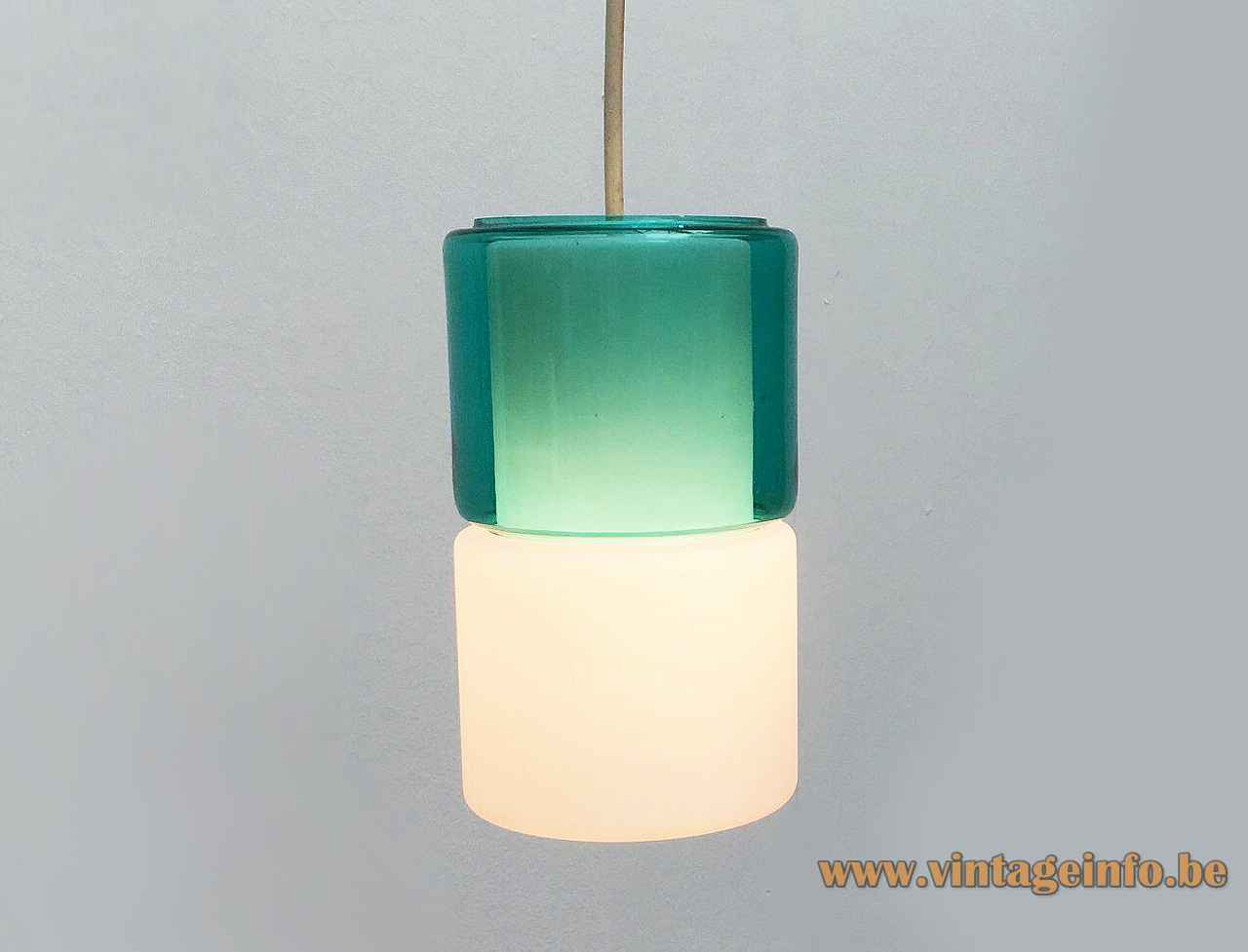 Peill + Putzler duotone pendant lamp opal & clear green hand blown glass lampshade 1950s 1960s Germany