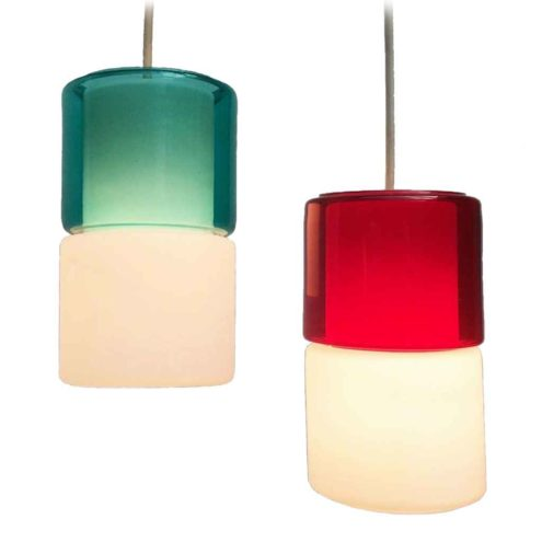 Peill + Putzler duotone pendant lamp opal & clear red & green hand blown glass lampshade 1950s 1960s Germany