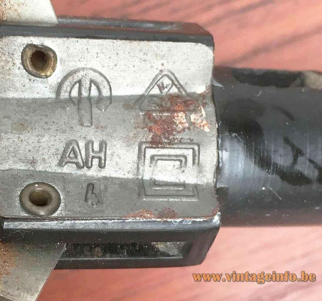 Peill + Putzler duotone pendant lamp AH 4 label logo metal suspension mechanism 1950s 1960s Germany