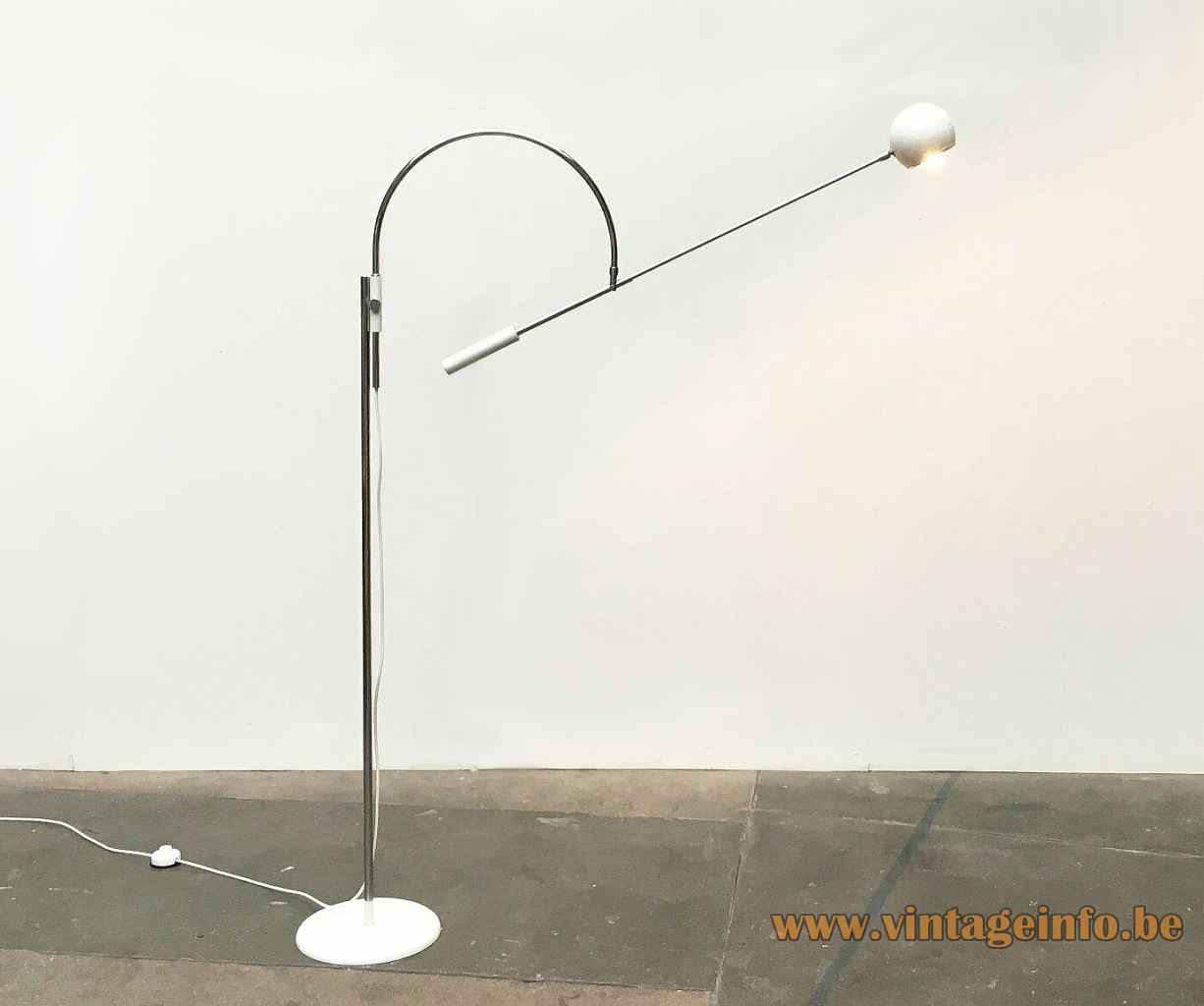 Sonneman Orbiter floor lamp round white metal base chrome rods eyeball globe lampshade 1960s LUCI