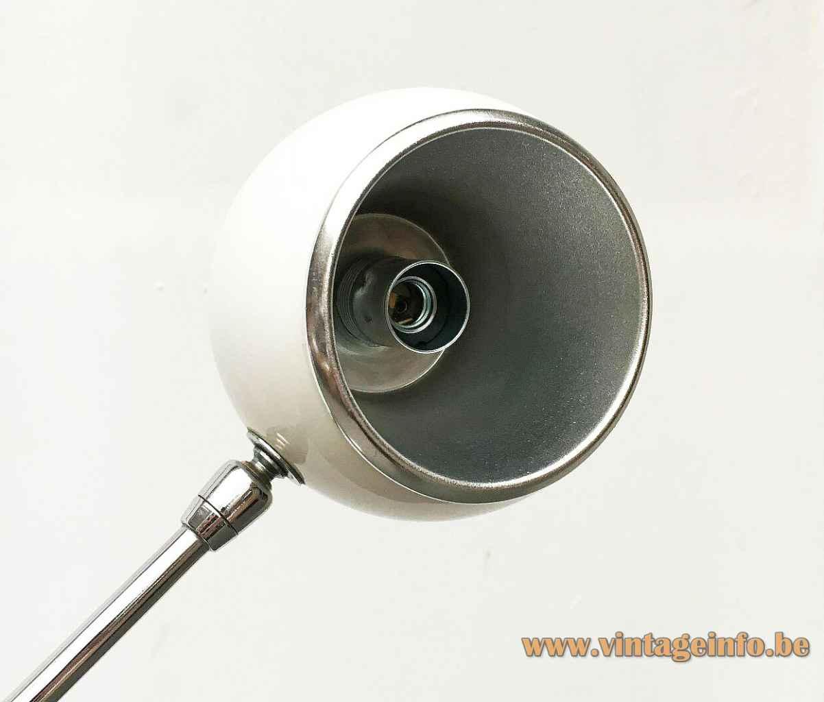 Sonneman Orbiter floor lamp white metal eyeball globe lampshade 1960s LUCI illuminazione Italy