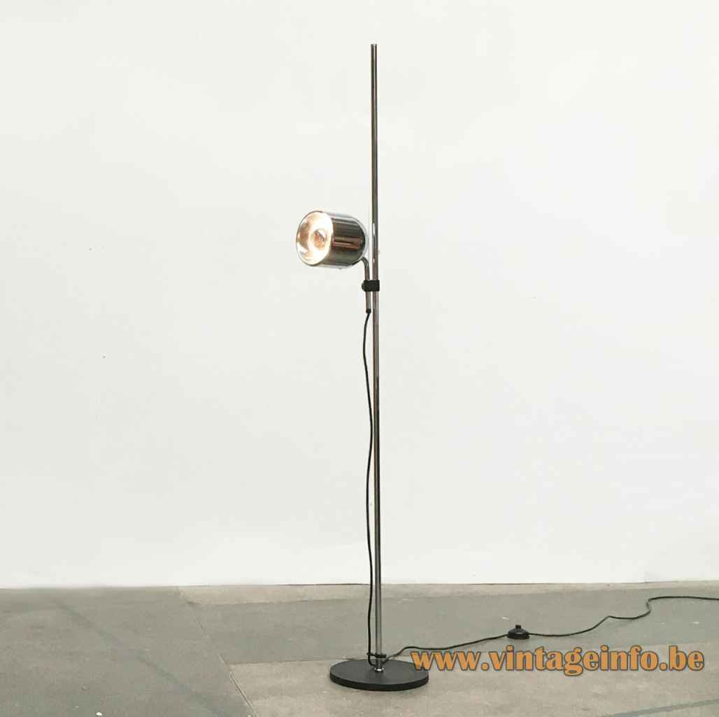Staff floor lamp 1181 round black base chrome rod adjustable lampshade 1975 design Arnold Berges Germany