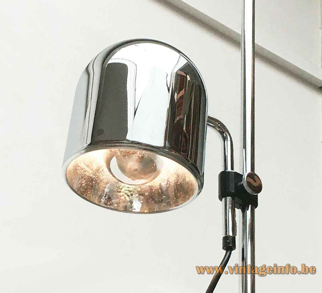 Staff floor lamp 1181 round chrome adjustable lampshade 1975 design Arnold Berges Germany 1970s E27 socket