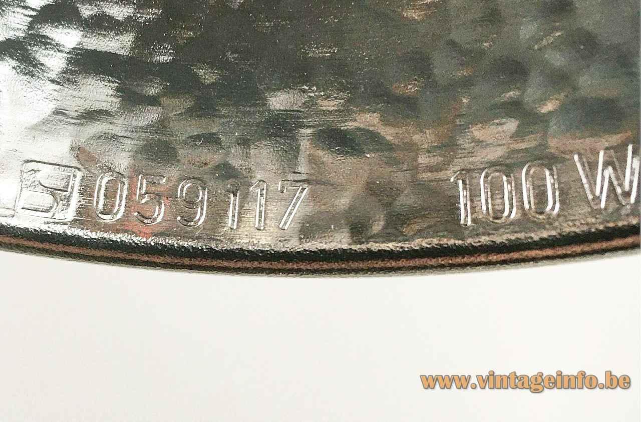 Staff floor lamp 1181 label logo aluminium reflector 1975 design Arnold Berges Germany 1970s