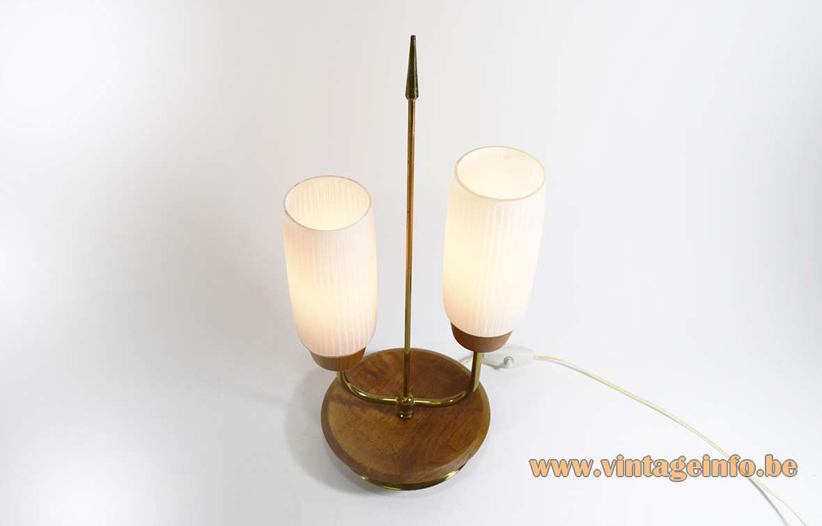 1950s Scandinavian table lamp round wood base brass arrow 2 ribbed opal glass lampshades 1960s Massive