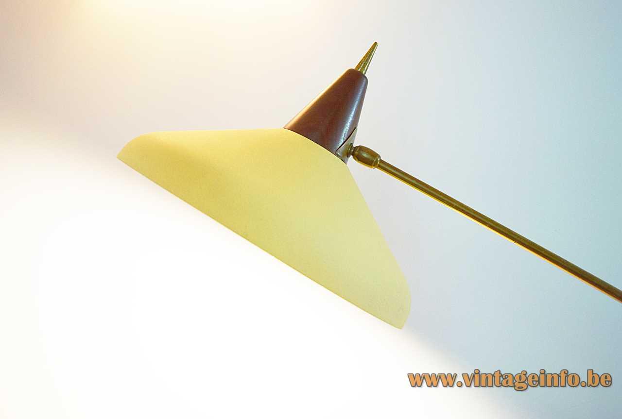 1950s Van Doorn floor lamp conical wood & yellow lampshade wrinkle paint 1960s Netherlands