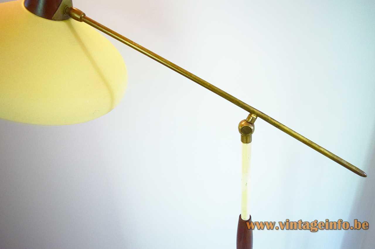 1950s Van Doorn floor lamp adjustable white brass é chrome rods conical yellow lampshade 1960s