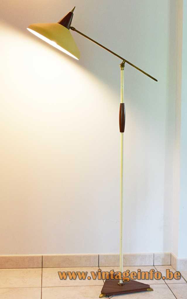 1950s Van Doorn floor lamp triangular wood base & handle white brass rods conical yellow lampshade 1960s