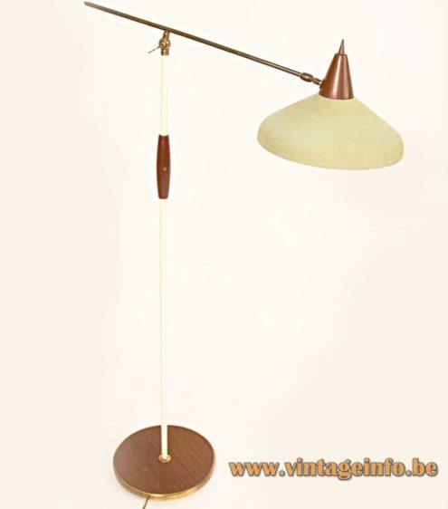 1950s Van Doorn floor lamp round wood base & handle white brass rods conical yellow lampshade 1960s