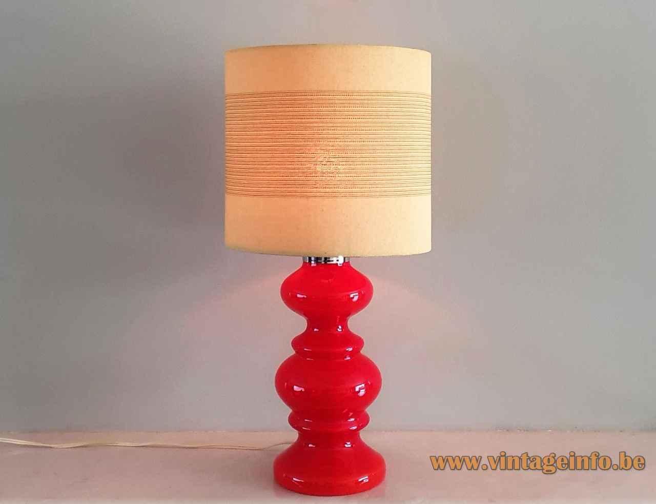 1970s red glass table lamp round tubular fabric lampshade Massive De Rupel Belgium hand blown