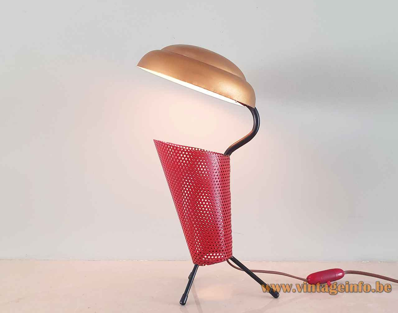 Aluminor tripod table lamp perforated red gauze tube round gold disc lampshade 1950s 1960s France