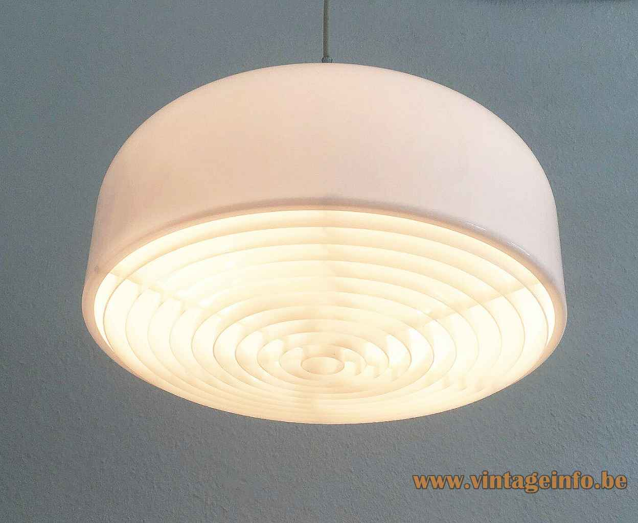 Ateljé Lyktan Knubbling pendant lamp white acrylic lampshade yellow lid grid diffuser 1970s Design: Anders Pehrson