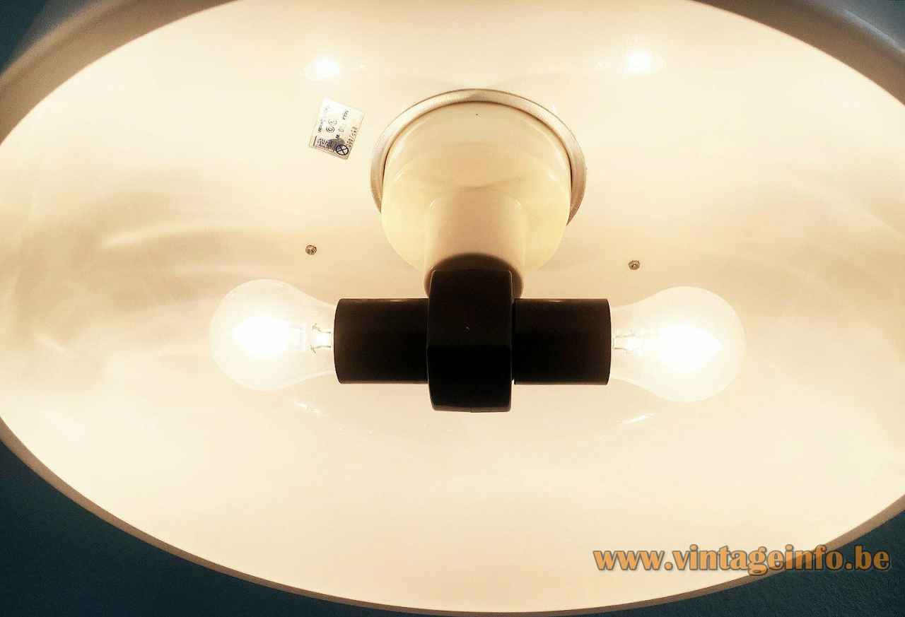Ateljé Lyktan Knubbling pendant lamp inside view lampshade 2 E27 sockets 1970s design: Anders Pehrson Sweden