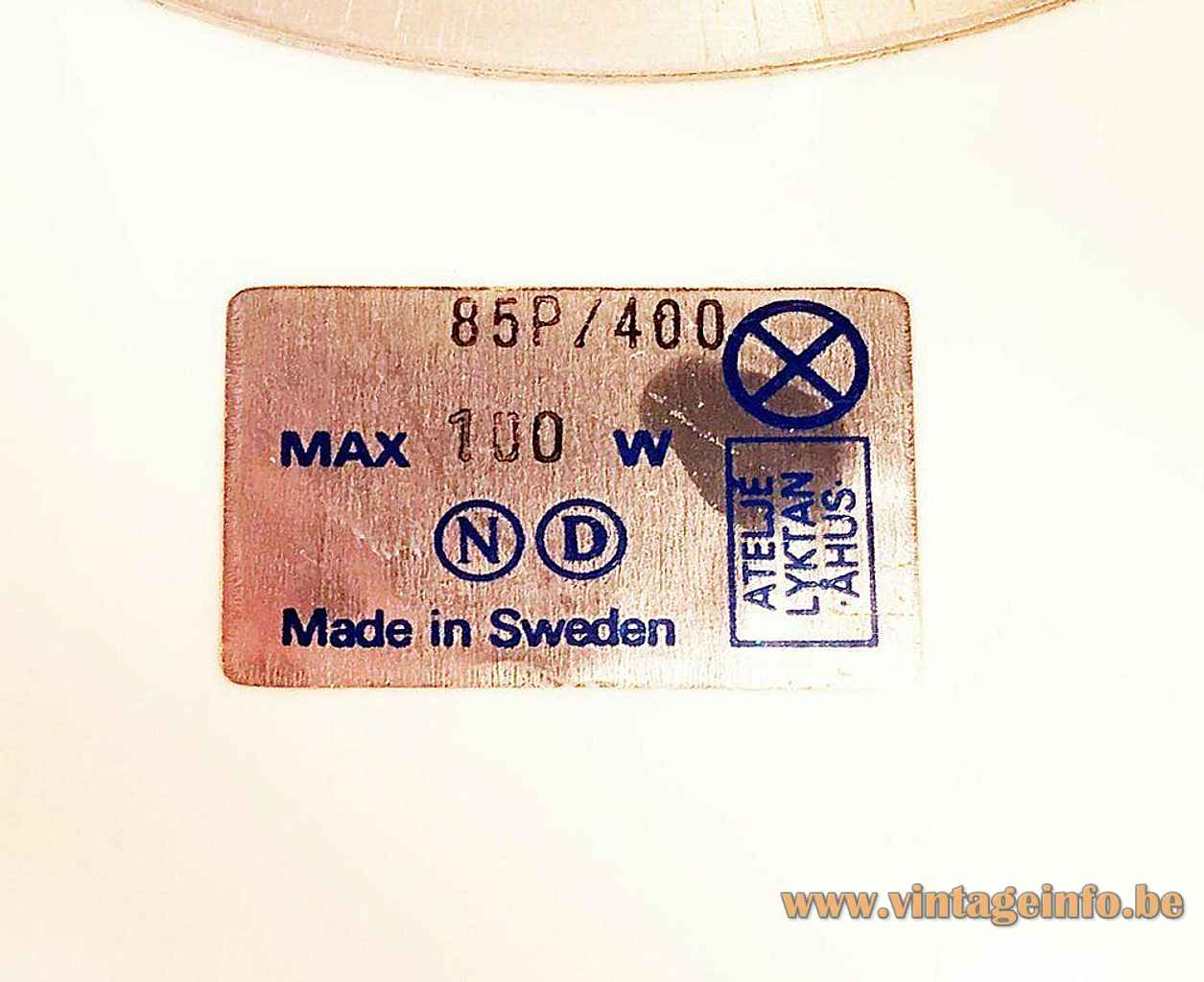 Ateljé Lyktan Knubbling pendant lamp label maximum 100 watt 1970s Design: Anders Pehrson Sweden