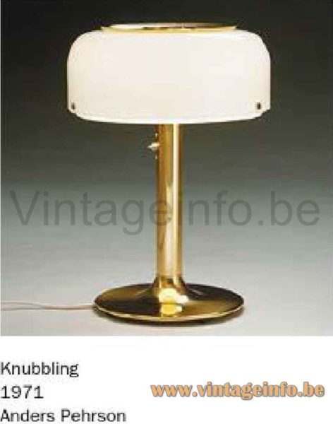 Ateljé Lyktan Knubbling Table Lamp - Catalogue Picture - 1970s Design: Anders Pehrson, Sweden