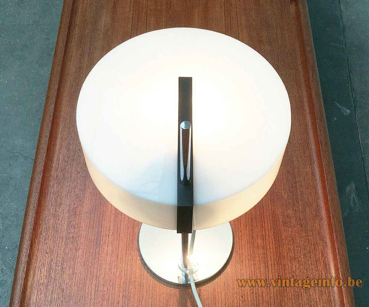Cosack white acrylic desk lamp round chrome base & rod adjustable opal plastic lampshade 1960s Germany