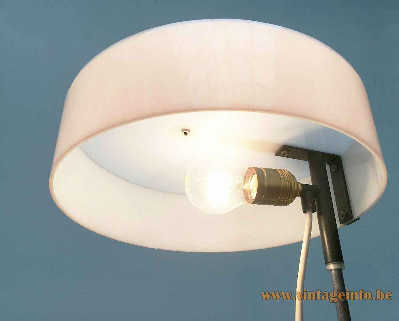 Cosack white acrylic desk lamp round metal E27 socket inside view plastic lampshade 1960s Germany