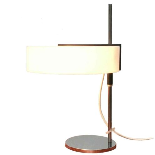 Cosack white acrylic desk lamp round chrome base & rod adjustable opal plastic lampshade 1960s Germany