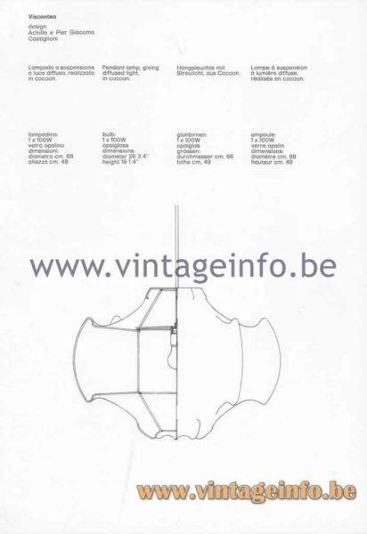 FLOS Viscontea Cocoon Pendant Lamp - 1980 Catalogue Picture