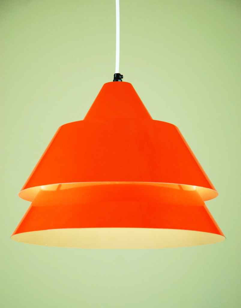 Fog & Mørup Zone pendant lamp conical orange-red aluminium lampshade 1960s 1970s design: Jo Hammerborg Denmark
