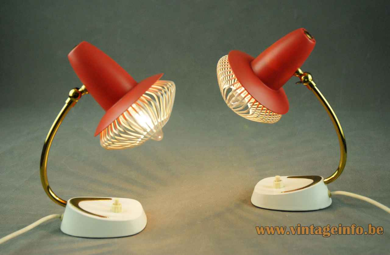 Grid bedside table lamp cream base curved brass rod red lampshade 1950s 1960s Cosack Leuchten Germany