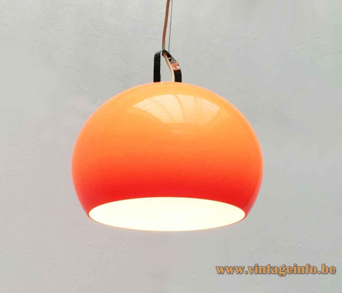 Harvey Guzzini Zurigo pendant lamp orange acrylic globe lampshade chrome handle 1960s 1970s iGuzzini Italy