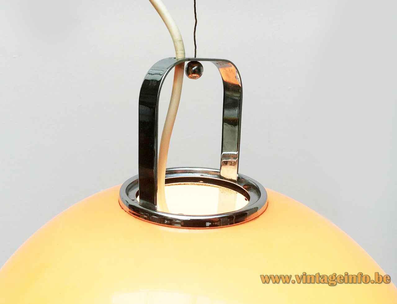 Harvey Guzzini Zurigo pendant lamp orange acrylic globe lampshade chrome handle top view 1960s 1970s Italy
