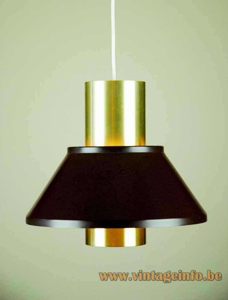 Jo Hammerborg Life pendant lamp round gold & black aluminium lampshade 1970s Fog & Mørup Denmark E27 socket