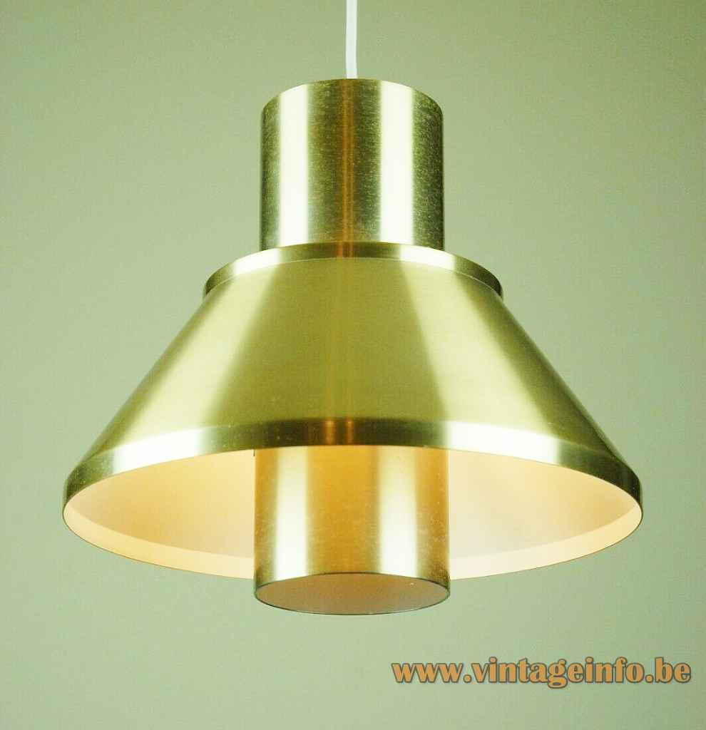 Jo Hammerborg Life pendant lamp round gold anodised aluminium lampshade 1970s Fog & Mørup Denmark E27 socket