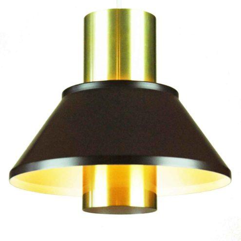 Jo Hammerborg Life pendant lamp black & gold anodised aluminium lampshade 1970s Fog & Mørup Denmark E27 socket