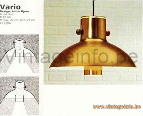 Lyfa Vario Pendant Lamp - 1970s Catalogue Picture - Design: Acton Bjørn Denmark
