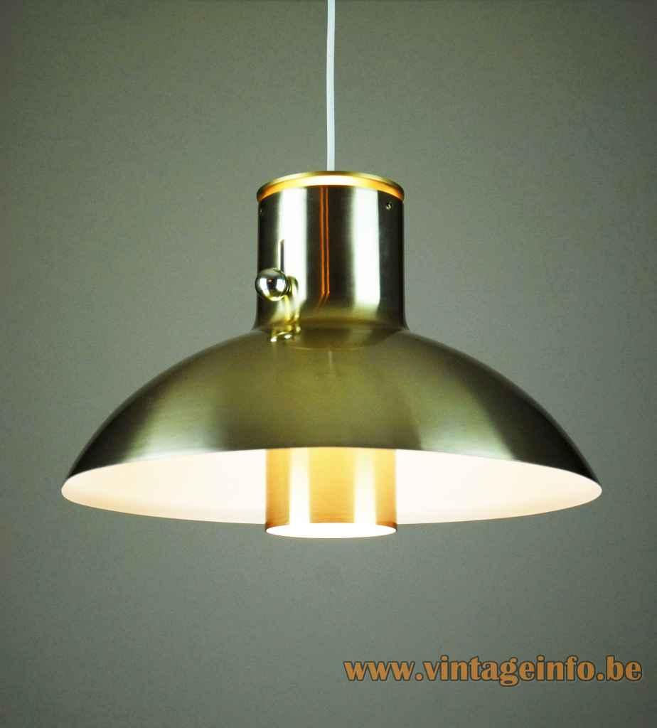 Lyfa Vario pendant lamp half round brass lampshade tube diffuser 1970s design: Acton Bjørn Denmark