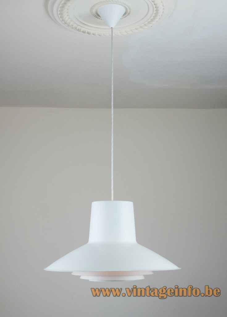 Nordisk Solar Auditorie 3 pendant lamp conical layered aluminium lampshade 1960s design: Sven Middelboe Denmark