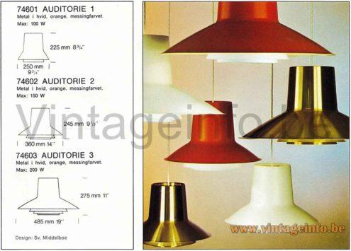 Nordisk Solar Auditorie 3 Pendant Lamp - 1960s Design Sven Middelboe, Denmark - Catalogue Picture