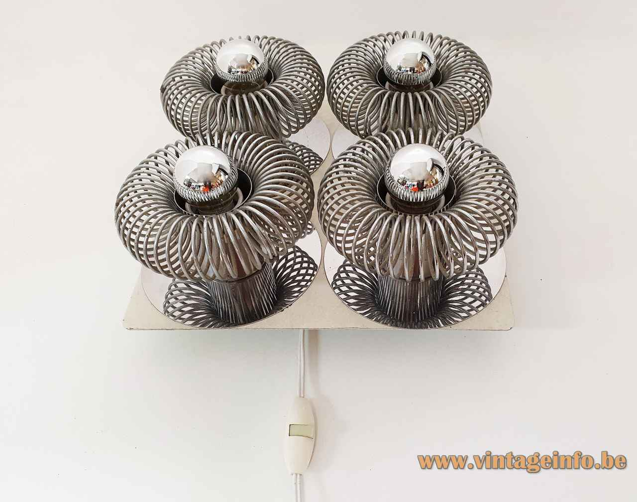 Philippe Rogier Oxar wall lamp square metal plate round chrome spiral spring lampshades 1970s Luminox France