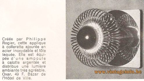 Philippe Rogier Oxar Wall Lamp - Catalogue Picture - Luminox, France