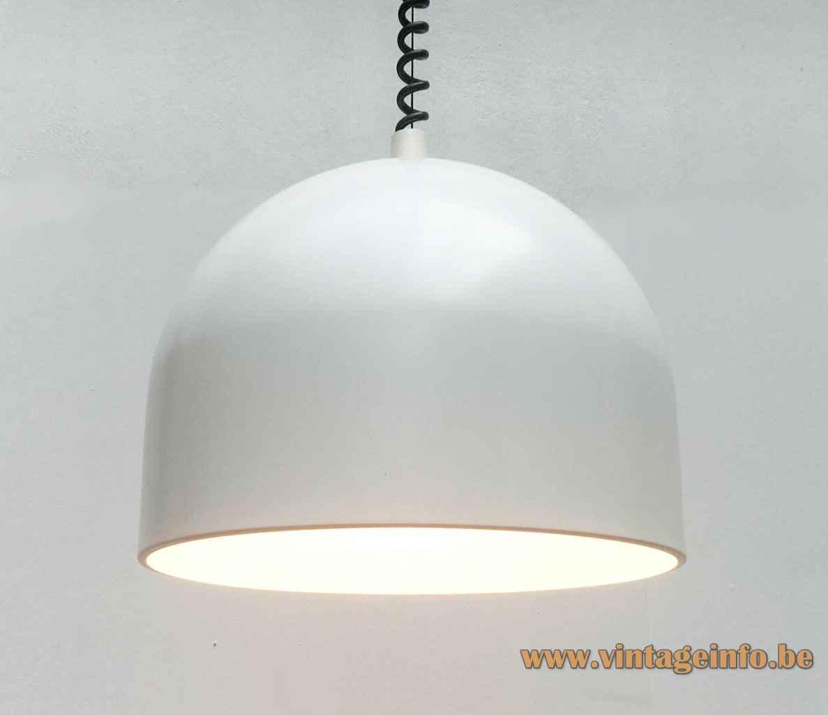 Staff pendant lamp 5515 half round white metal lampshade aluminium reflector 1970s 1980s Germany E27 socket