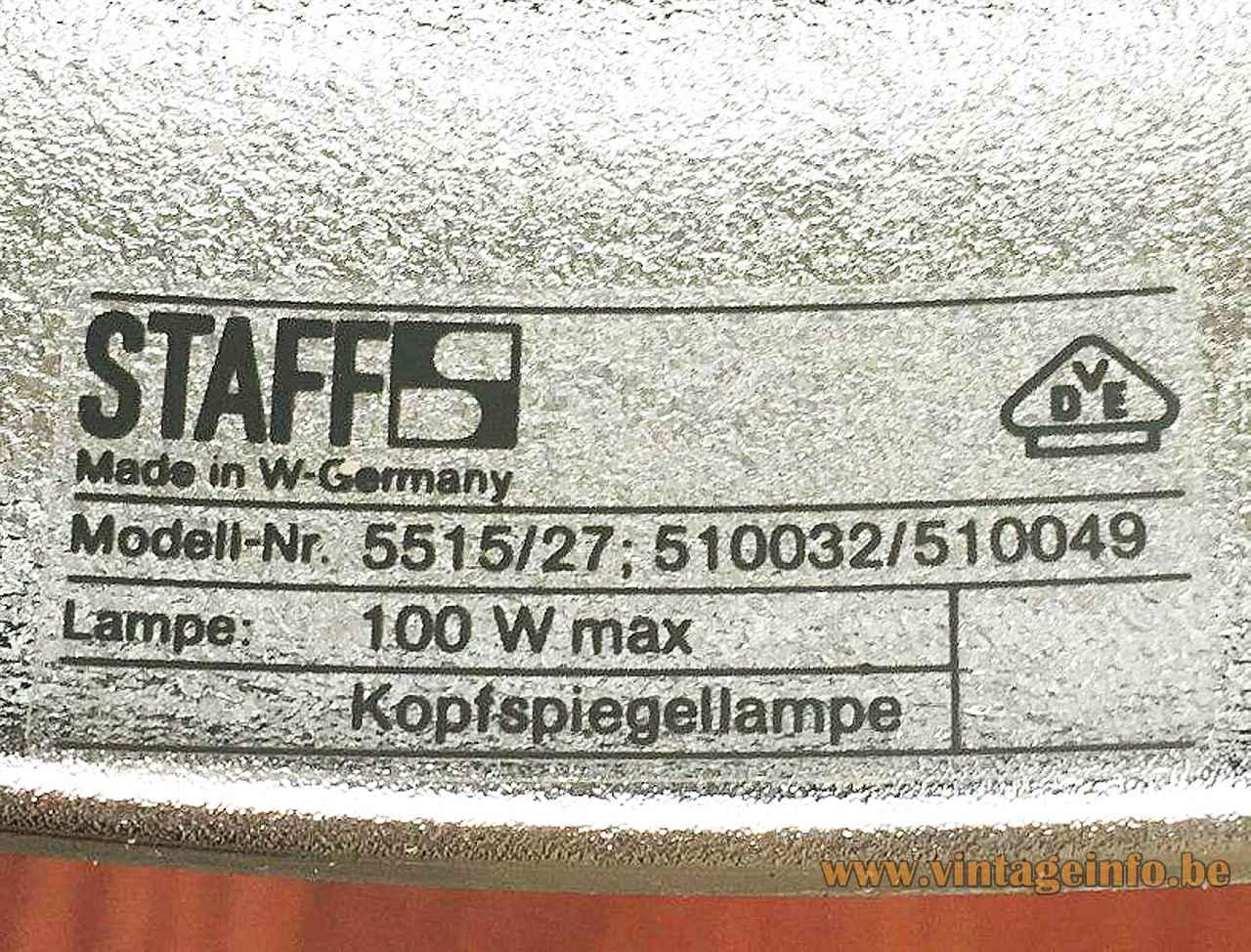 Staff pendant lamp 5515 label logo 5515/27 510032 510049 100 watt maximum 1970s 1980s Germany
