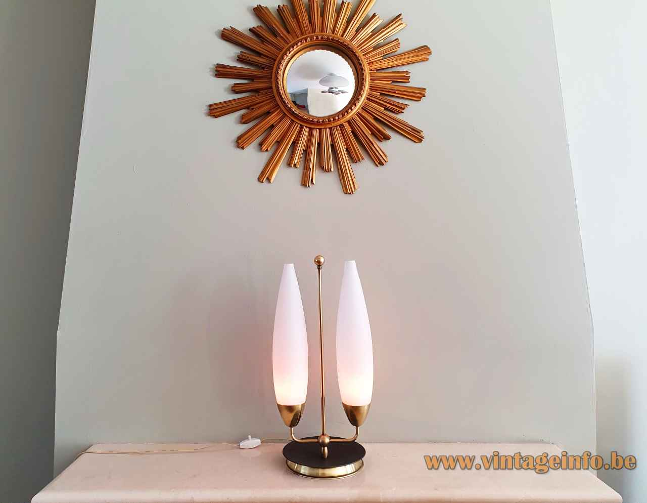 1960s convex opal glass table lamp round brass base & rod 2 white oval lampshades Massive Belgium