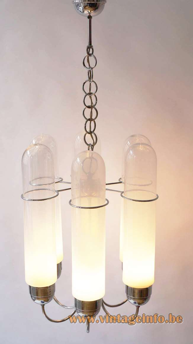 1960s glass tubes chandelier clear opal Murano glass tubes chrome curved rods chain Aldo Nason