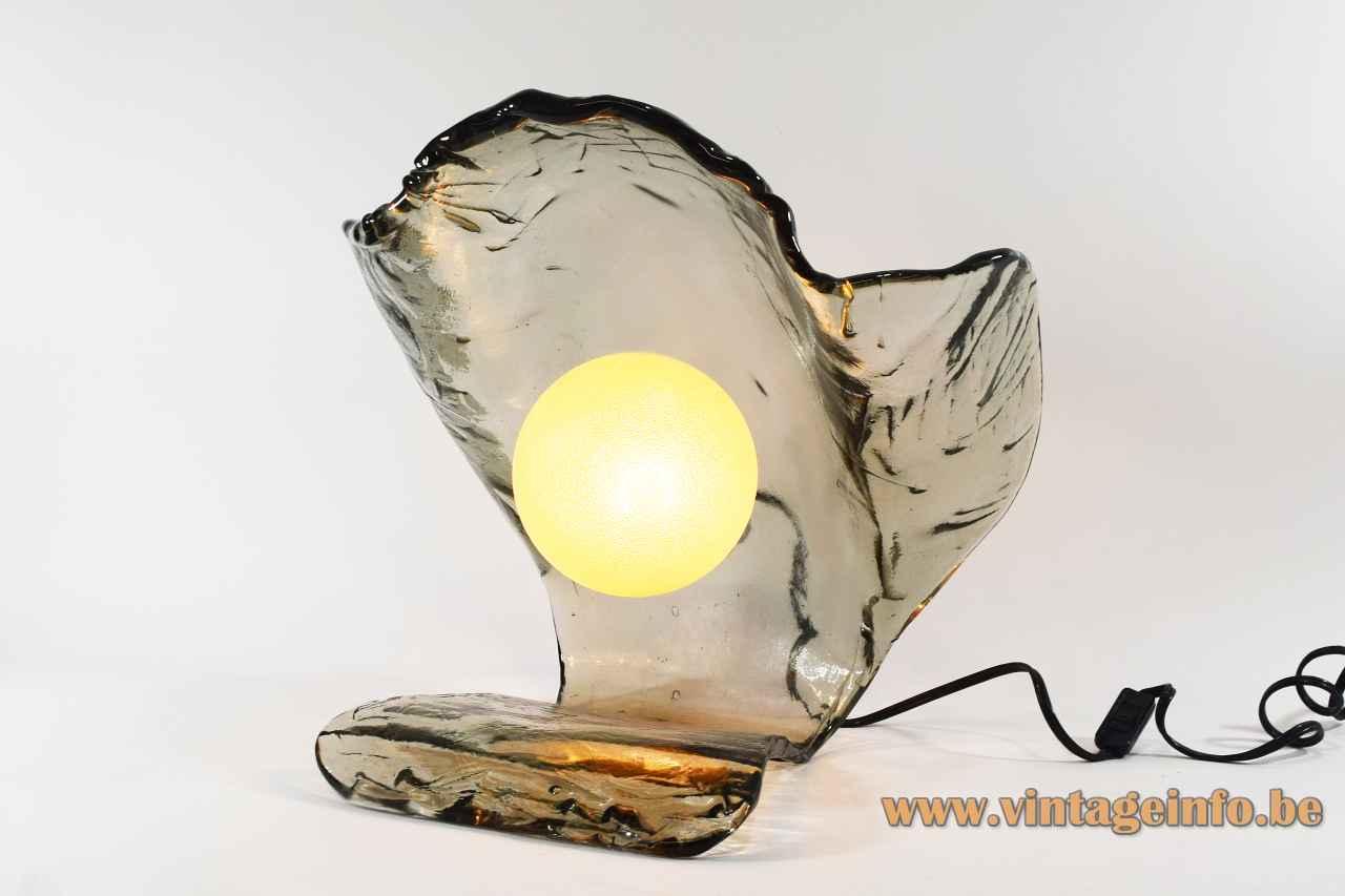1970s manta table lamp grey-green hand blown glass lampshade sea La Murrina Murano Italy Toni Zuccheri