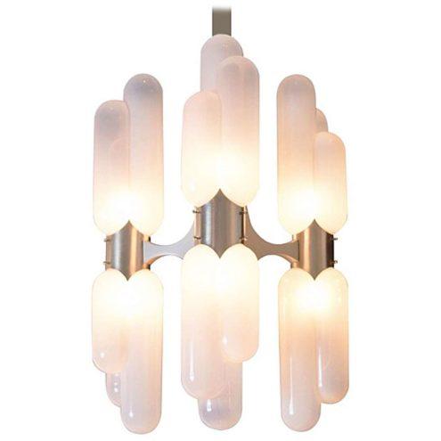 1970s Torpedo chandelier chrome rod 6 long opal glass tubes Carlo Aldo Nason Mazzega Murano Italy