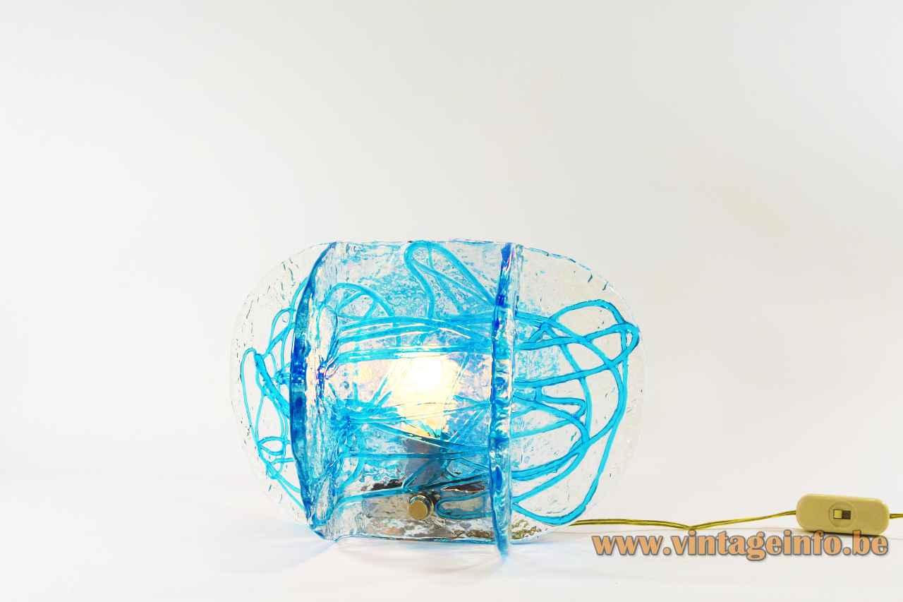 AV Mazzega blue glass table lamp folded clear discs lampshade spaghetti decoration 1970s Carlo Nason Murano