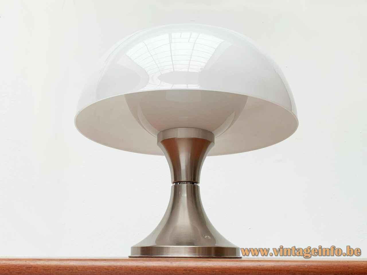 Ecolight mushroom table lamp concave round aluminium base white acrylic lampshade design: Gaetano Sciolari Italy 1960s